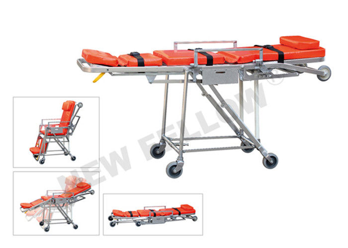 Wheeled Stainless Steel Emergency Evacuation Stretcher For Elevator